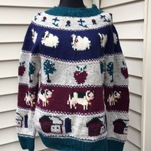 Women's size Large wool blend farm pattern sweater
